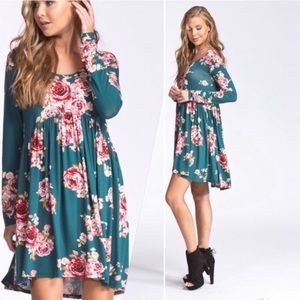 Turquoise Floral Tunic Dress
